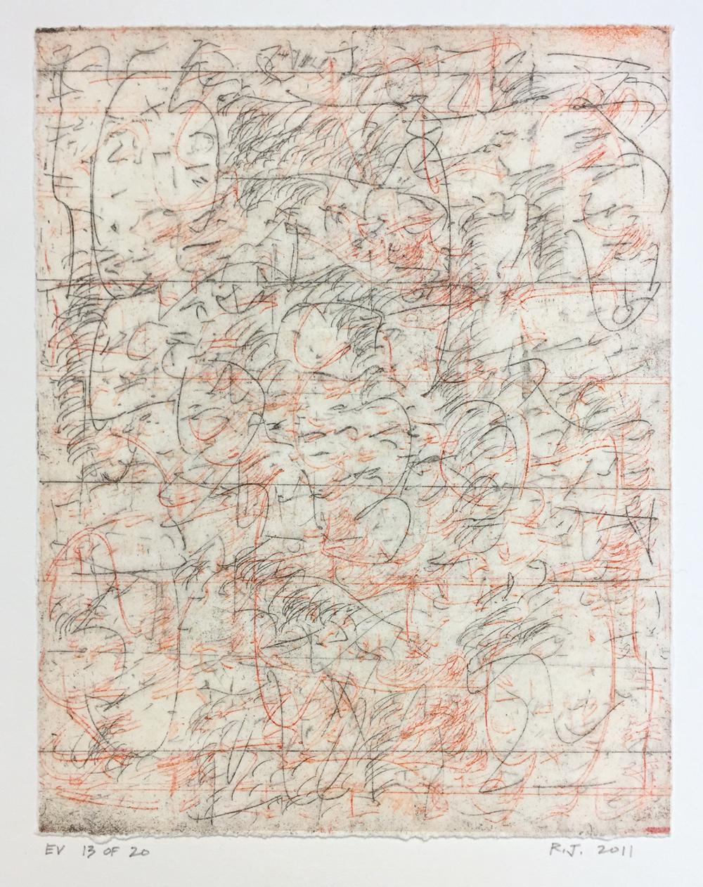 Robert C. Jones, EV, 2011, edition 13/20, etching, 10 x 7.75 inches, $600.