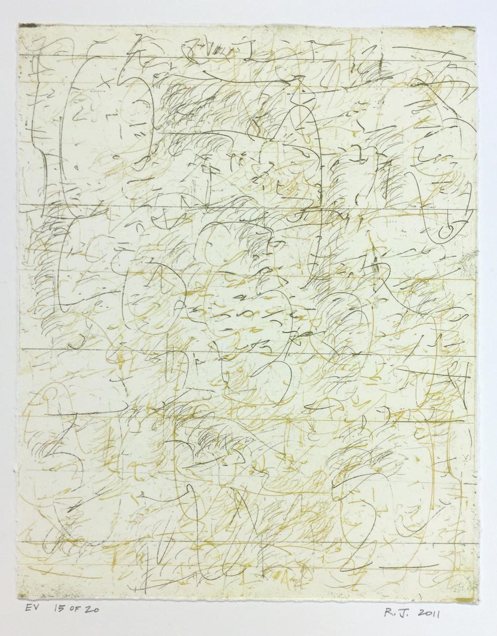 Robert C. Jones, EV, 2011, edition 15/20, etching, 10 x 7.75 inches, $600.