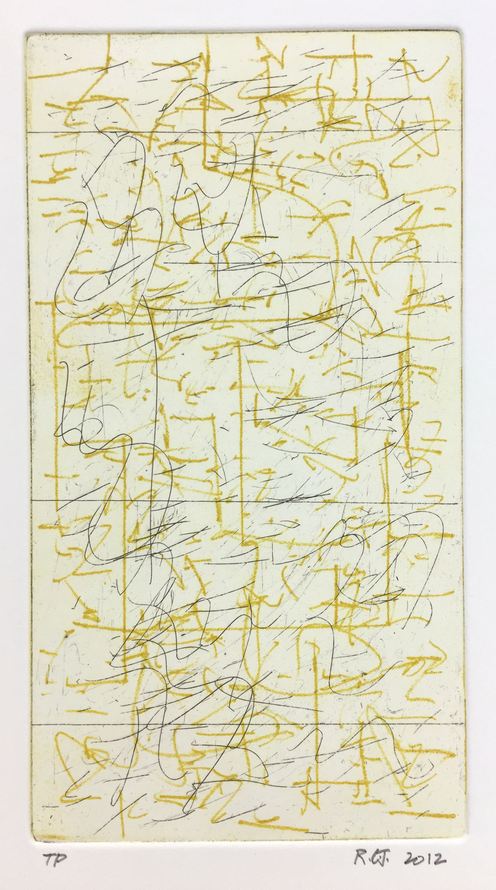 Robert C Jones, TP, 2012, etching and drypoint, 9 x 4.75 inches, $600.
