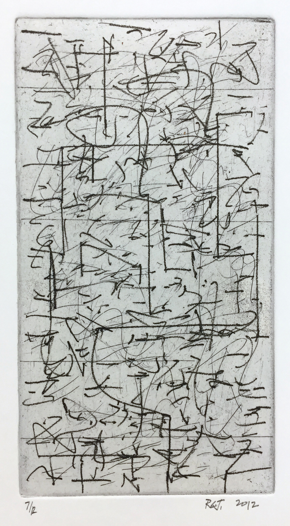 Robert C Jones, Untitled, 2012, etching and drypoint, edition of 12, 9 x 4.75 inches, $600.