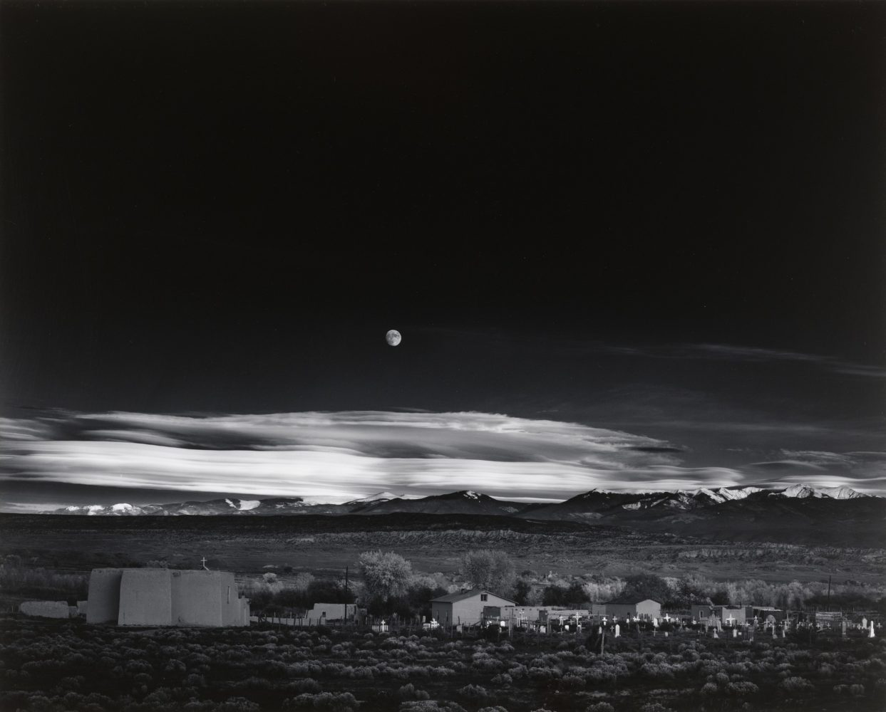 Ansel Adams, Moonrise, Hernandez, NM, 1941, gelatin silver print, 16 x 20 inches, signed in pencil, recto, studio stamp, verso, framed, price on request