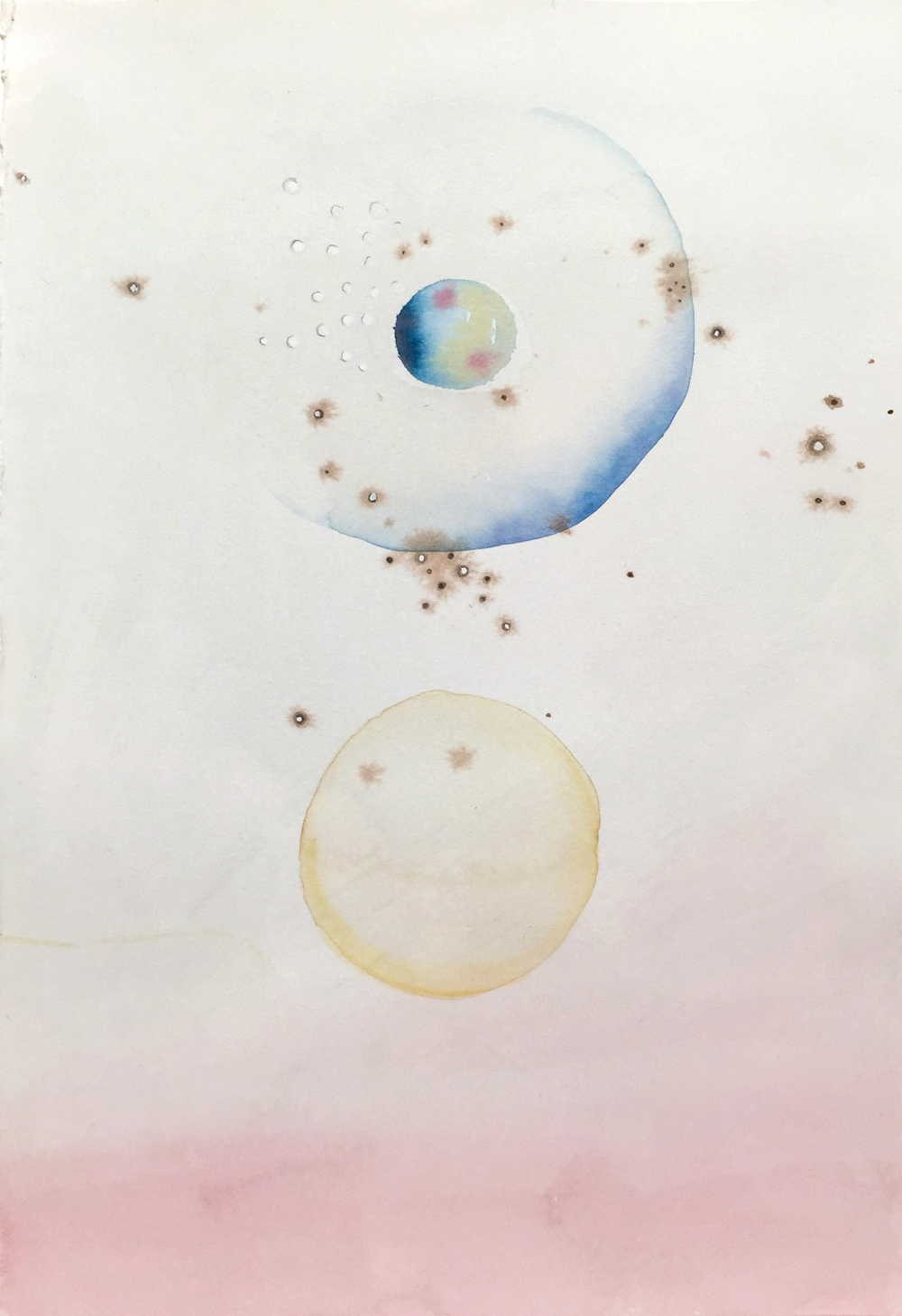 Gala Bent, Astronomy Group, 2015, watercolor and graphite on paper, 10.25 x 7 inches, $400.