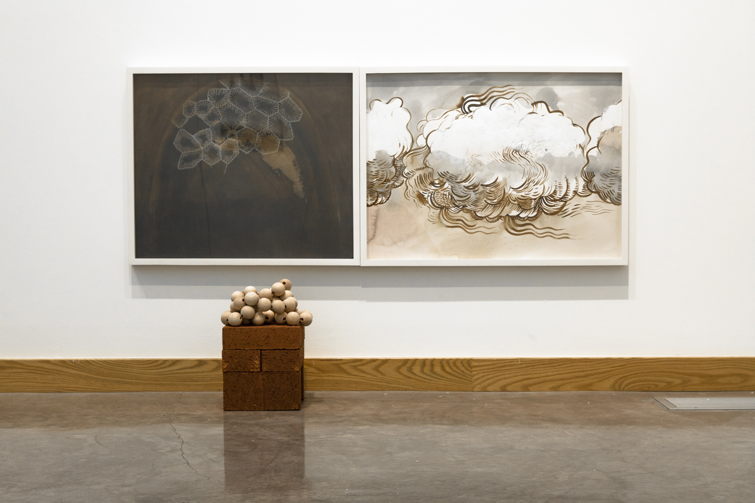 Gala Bent, Diptych (Loud Cloud + Domed Fossil), 2016, ink, acrylic, drawing pencils, gouache and graphite on paper, 50 x 22 inches, Whitworth University Installation