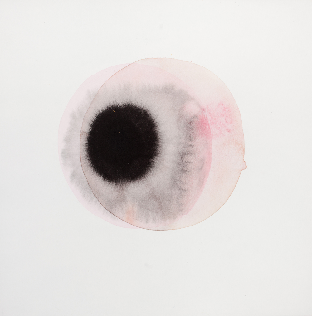 Gala Bent, Waiting for a Supernova (black pupil), 2016, gouache and ink on paper, 8 x 8 inches, framed, $450.