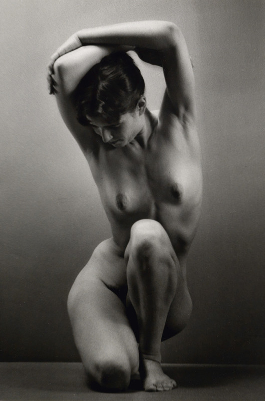 Ruth Bernhard, Balancing, 1971, gelatin silver print, 10 x 8 inches, signed by artist