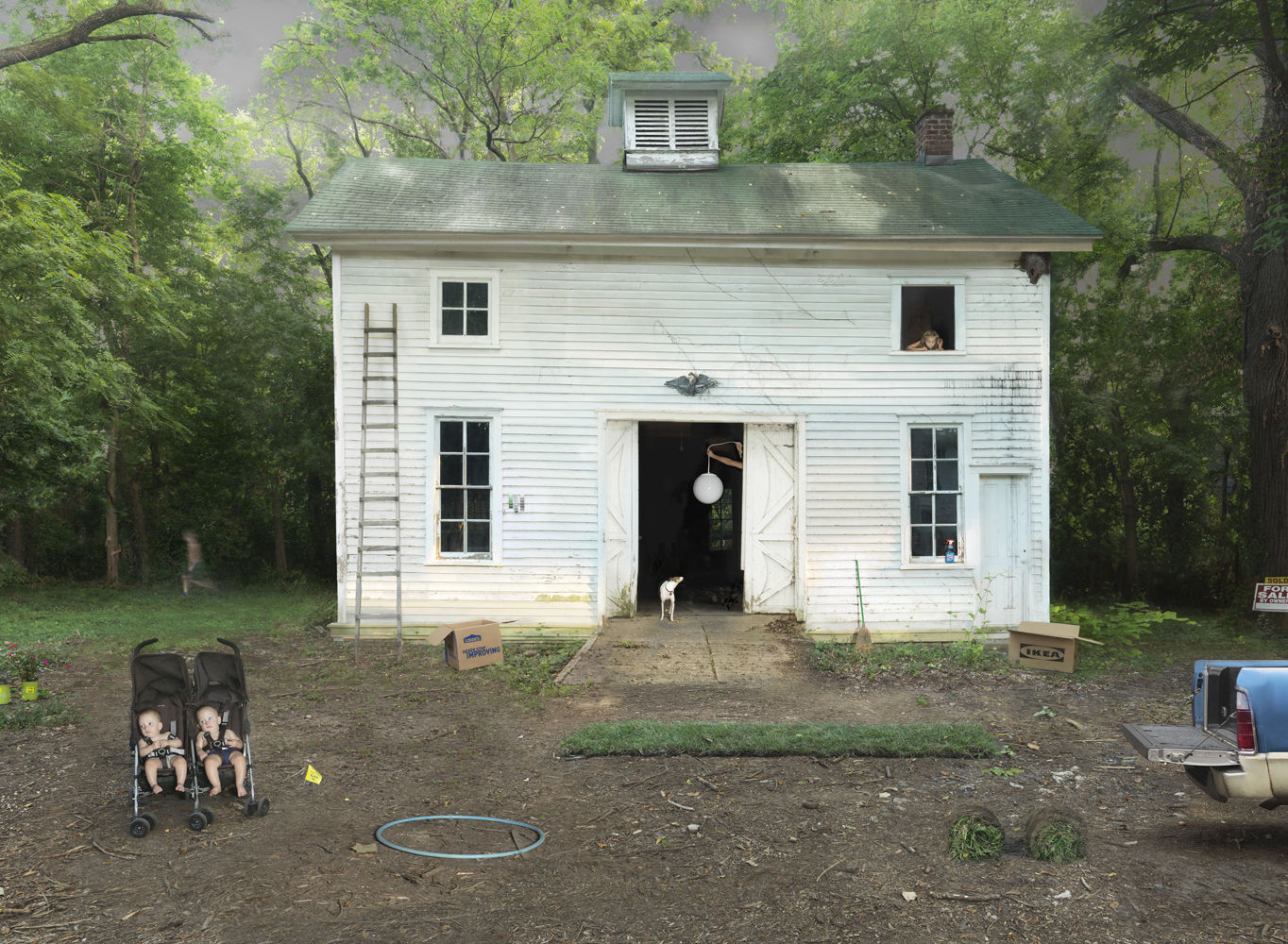 Julie Blackmon, Fixer Upper, 2018, 26.5×34″, 35.75×47.25″, 44×60″, edition of 10, 7, 5, price on request