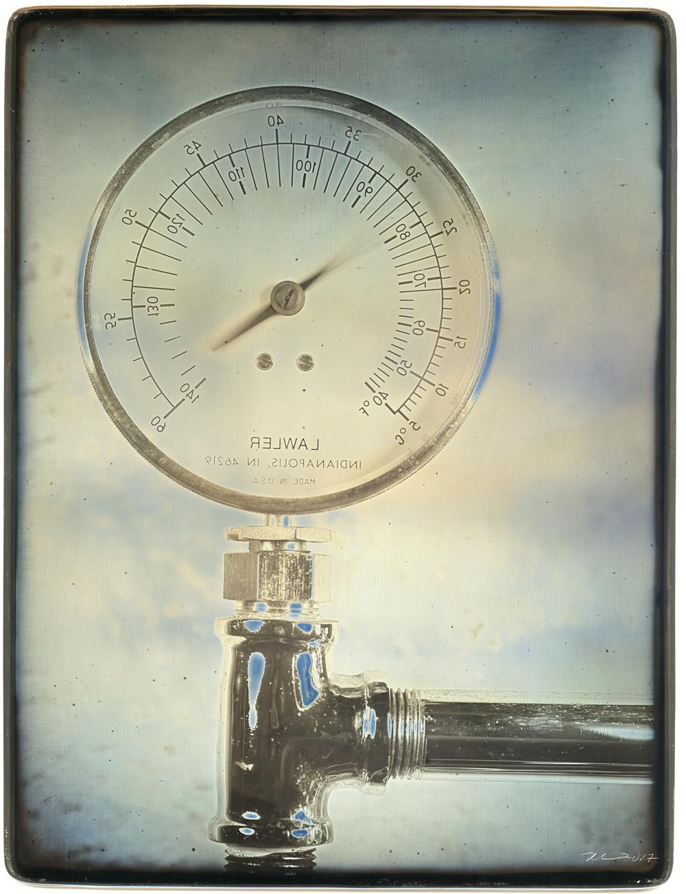 Daniel Carrillo, The Burnses' Valve, 2017, daguerreotype. 8.5 x 6.5 inches, framed, $3000.