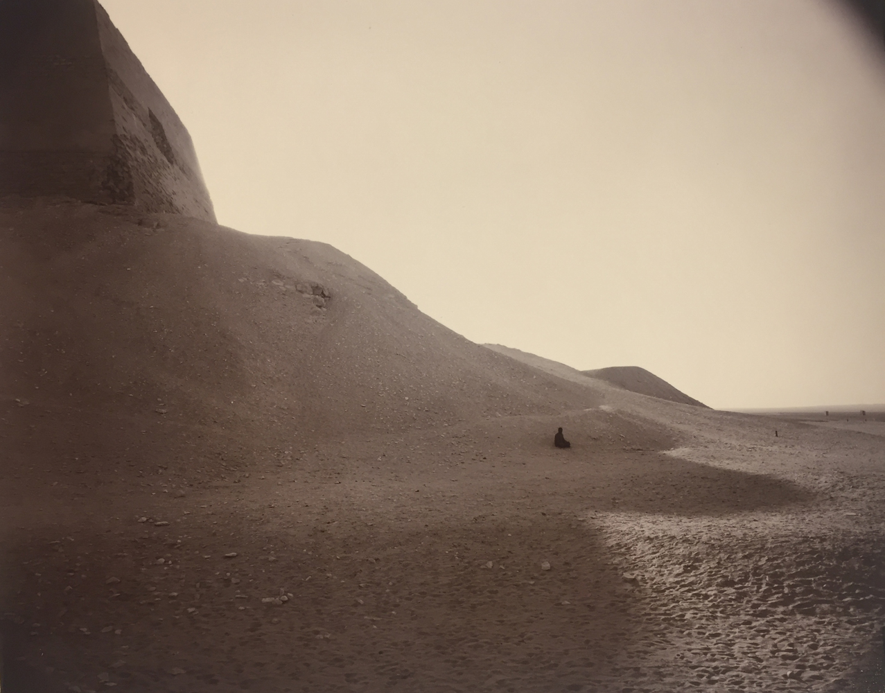 Linda Connor, Man in Pyramid Shadow, Egypt, 1989, gold toned print, 8 x 10 inches