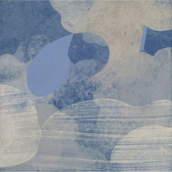 Linda Davidson, Currents, casein on wooden panel, 6 x 6 inches, $250.