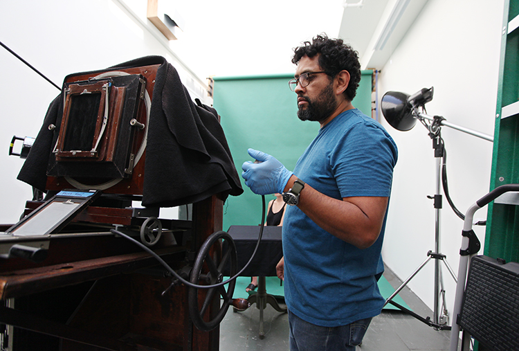 Daniel Carrillo in his studio, photograph by Kelly O for City Arts