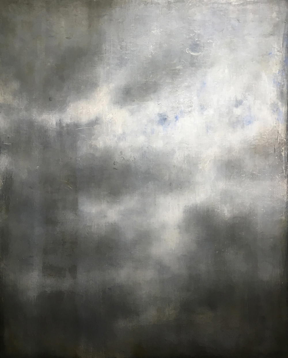 Linda Davidson, Everyday Sky 4 (Sky Over Berlin Long Remembered), 2016-17, oil and wax on panel, 60 x 48 inches, $5500.