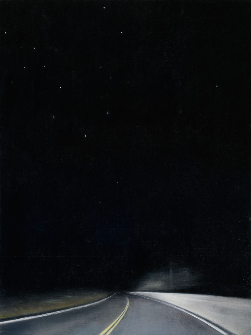 Linda Davidson, Night Road 2, 2015, 24 x 18 inches, oil and wax on linen on panel, $1,200.