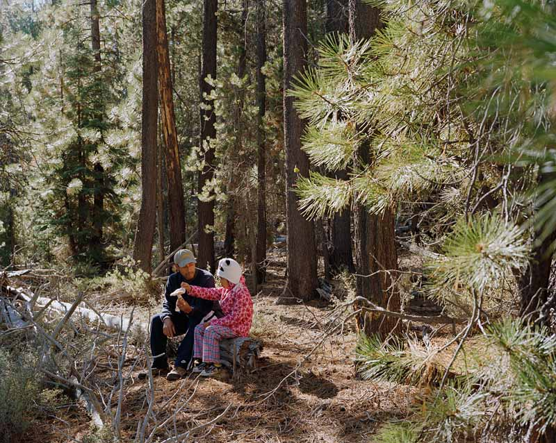 Eirik Johnson, Joy and his daughter Belinda with a matsutake in the Deschutes National Forest, Oregon, 2011