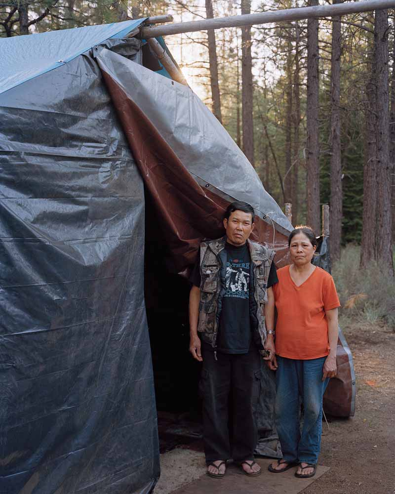 Eirik Johnson, Phet and Pawn outside their shack at a camp near Sisters, Oregon, 2011
