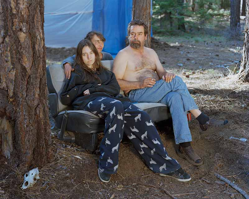 Eirik Johnson, Morgan, Dawn, and Jon at their mushroom camp near Sisters, Oregon, 2011