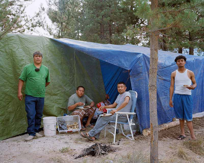 Eirik Johnson, Jesus, Jose, Herbert and David at their mushroom camp near Chemult, Oregon, 2011