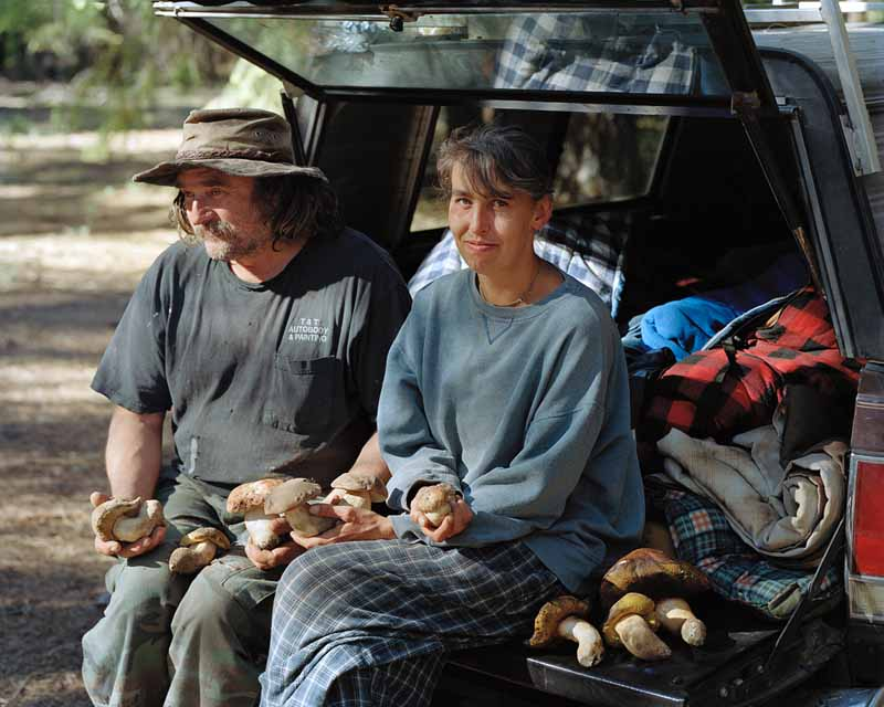 Eirik Johnson, Dawn and Tim with boletes they picked at a camp near Sisters, Oregon, 2011