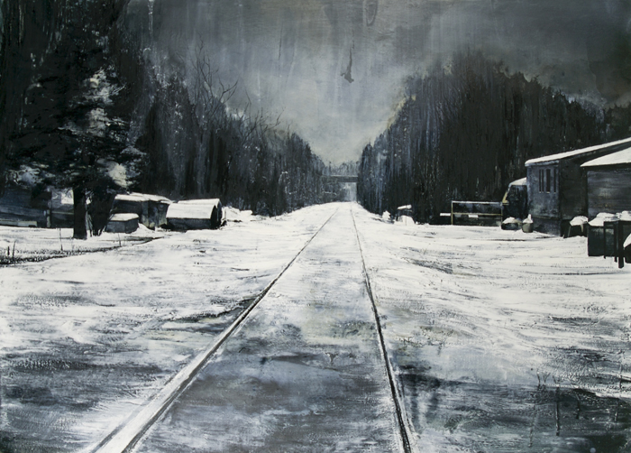 Mark Thompson, Footsteps Brushed Over, 2010, oil on canvas, 33.25 x 46.25 inches, $8000.