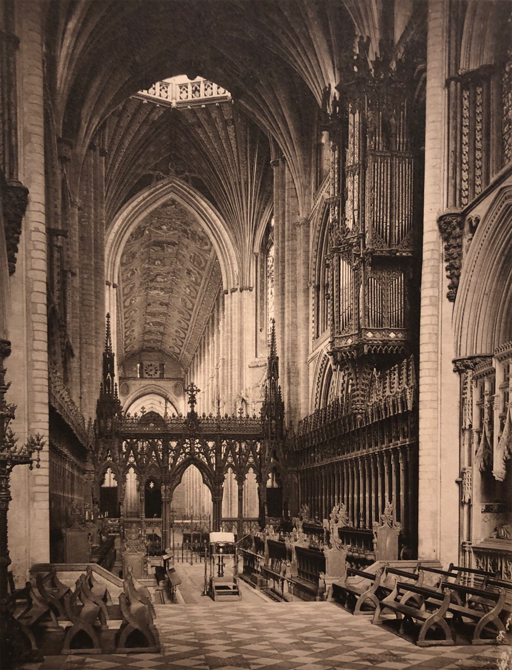 Frederick Evans, Ely Cathedral – Choir to West from Altar, 1891, platinum print, 5.625 x 4.5 inches, signed by artist in pencil, recto, price on request