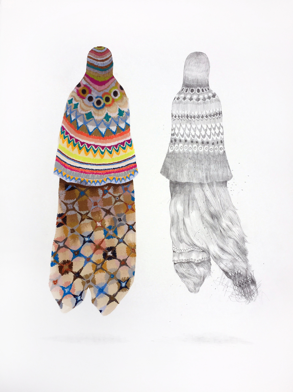 Gala Bent, A Garment for Magdalena (Hairy Mary), 2019, graphite, drawing pencils and gouache on paper, 30 x 22 inches, $2400.