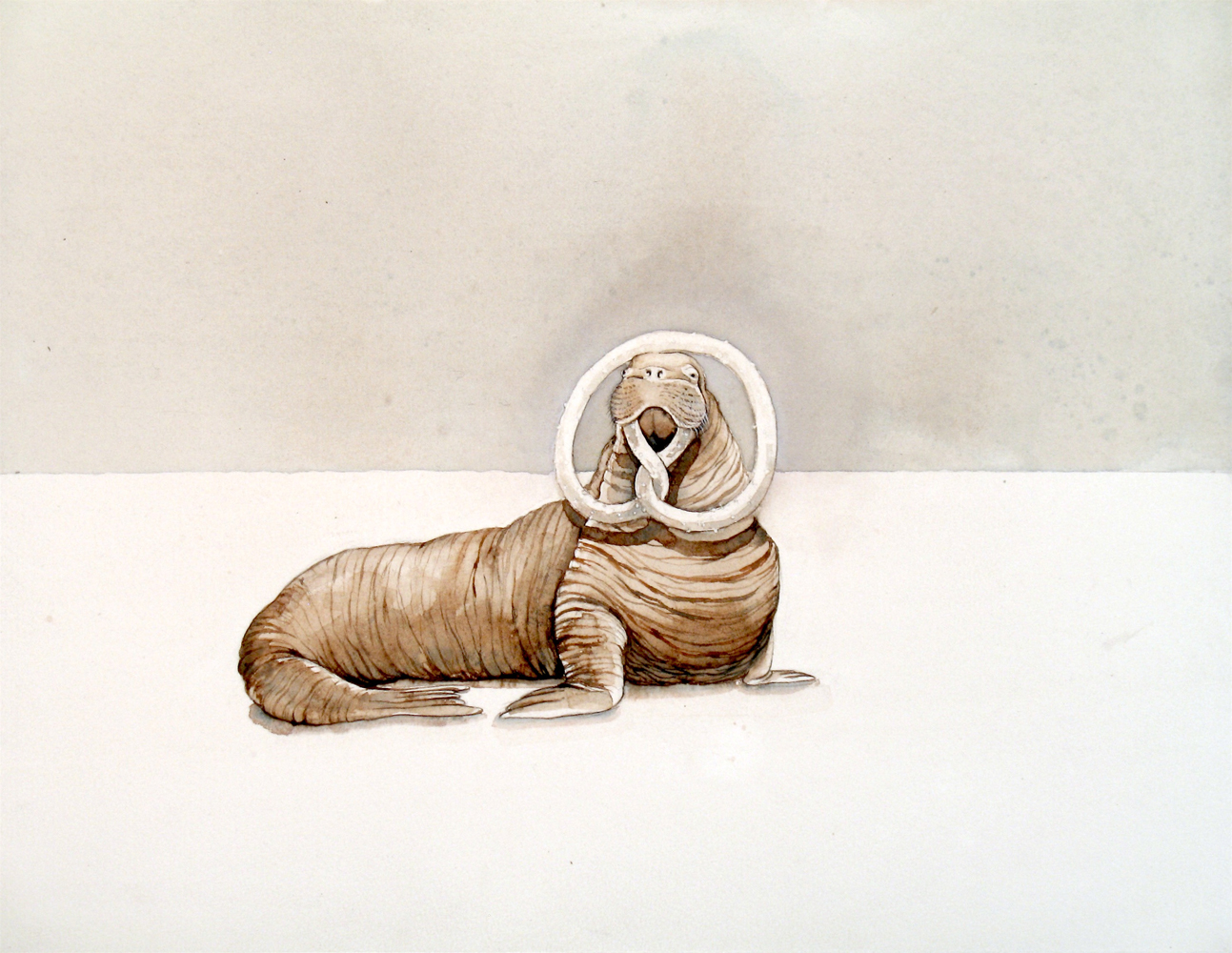 Justin Gibbens, Bavarian Walrus i, 2017, watercolor, ink on paper, 10 x 13 inches, SOLD