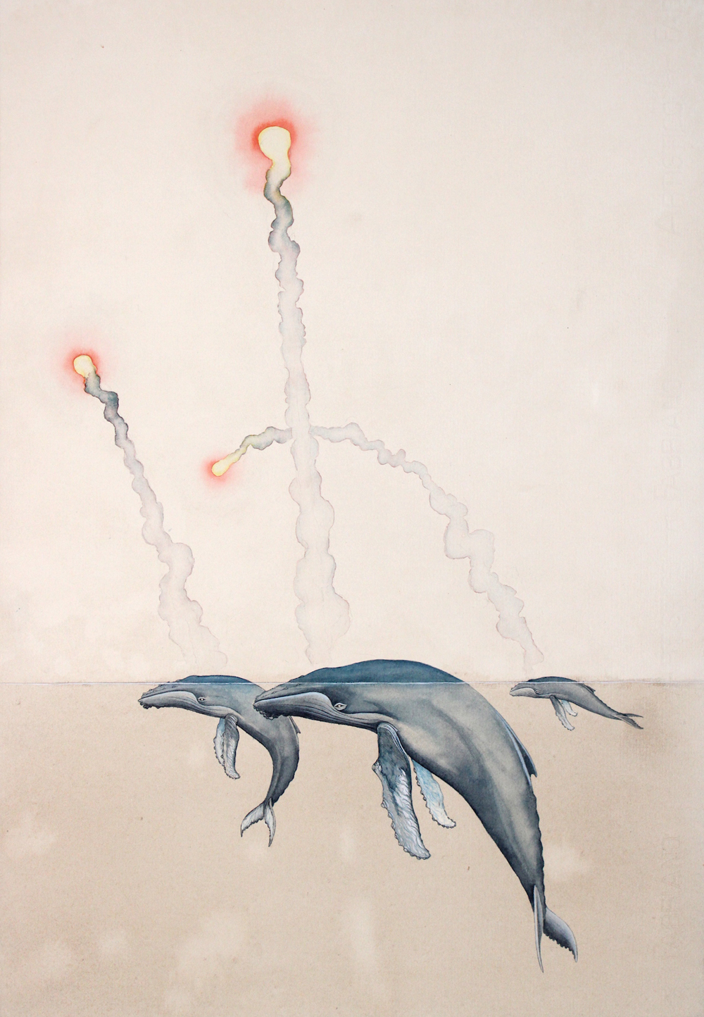 Justin Gibbens, Flare,2020, watercolor, ink on paper, 22 x 15, $1800.