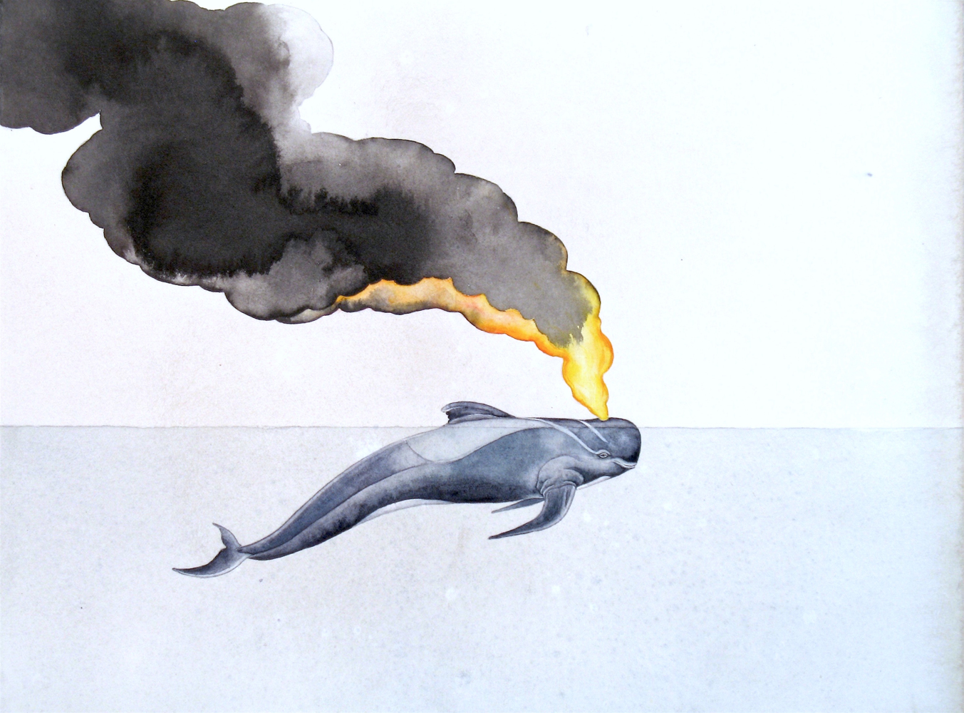 Justin Gibbens, Plume, 2017, watercolor, ink on paper, 10 x 13 inches, $1000.