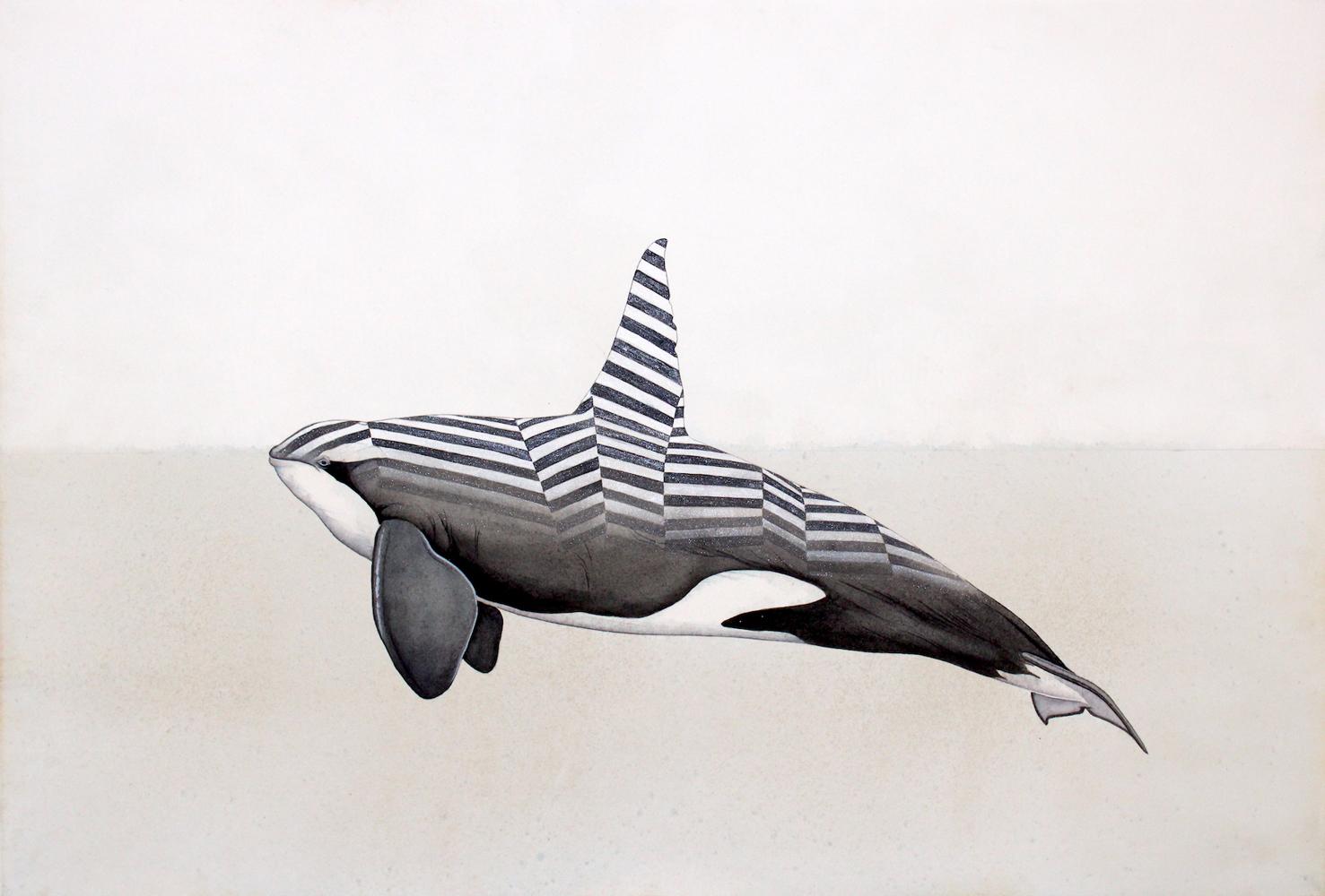 Justin Gibbens, Razzle Dazzle, 2020, watercolor, ink, acrylicon paper, 15 x 22, $1800.