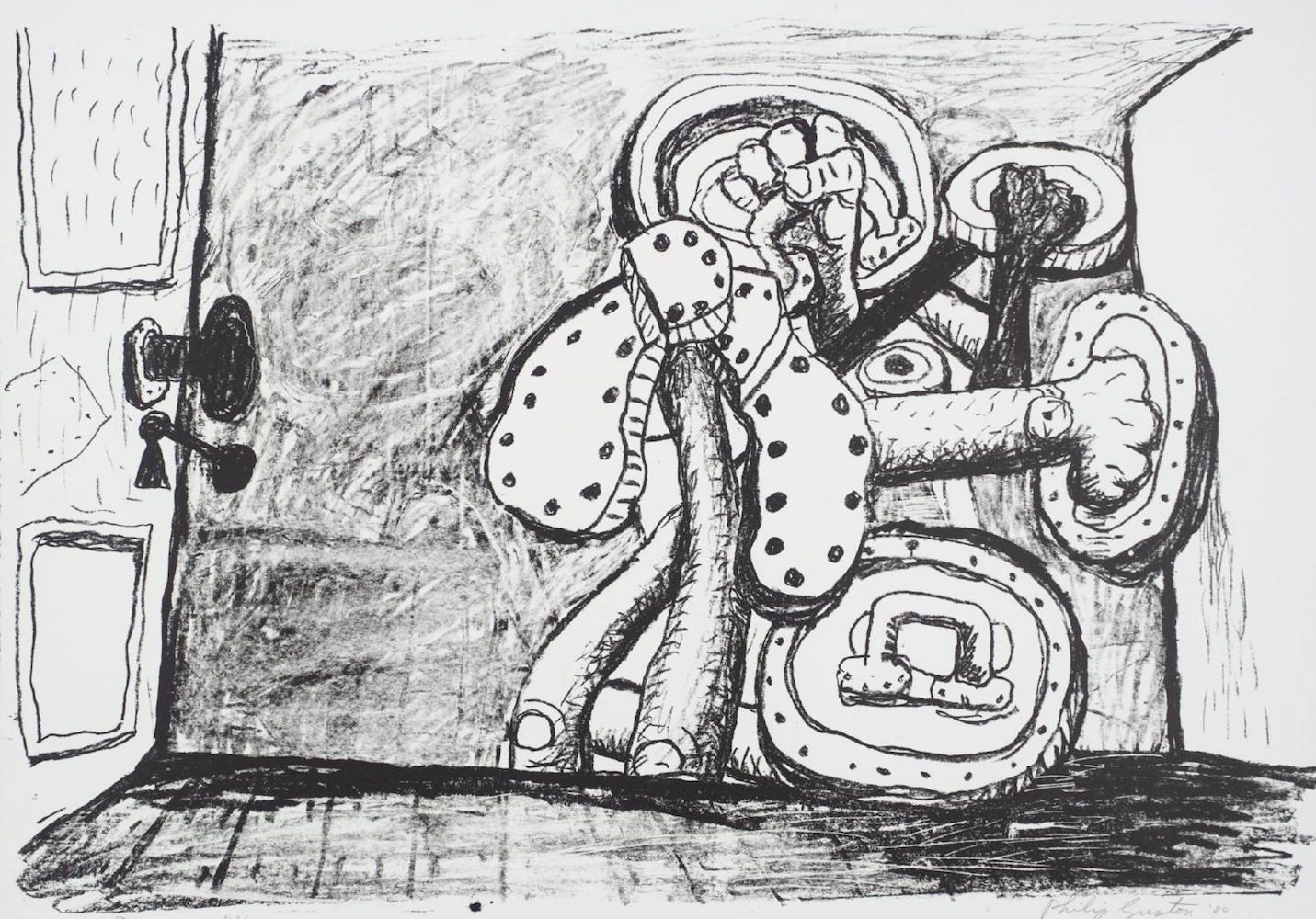 Philip Guston, Door, 1980, lithograph, 22 x 30 inches, edition 16/50, signed by artist, framed, price on request