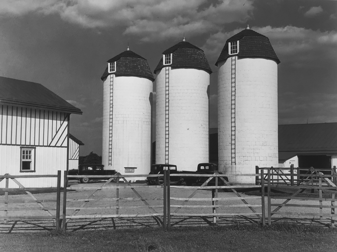 Marion Post Wolcott, Barn and silos on rich farmland, Bucks County, Pennsylvania, 1939, gelatin silver print, 11 x 14 inches, price on request