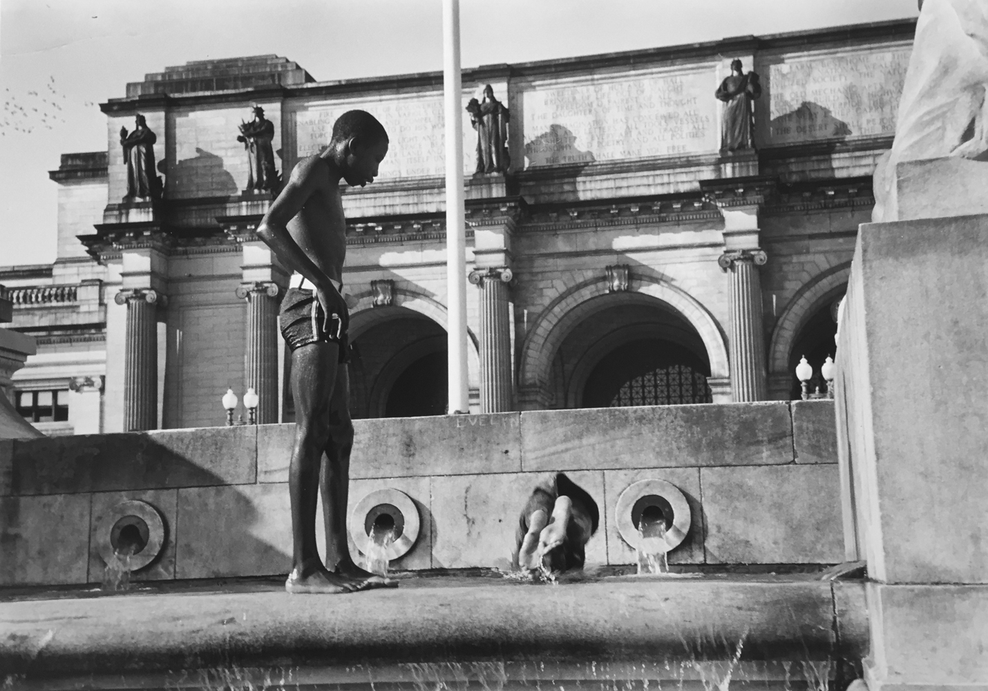 Marion Post Wolcott, Swimming in fountain across from Union Station, Washington, D.C., 1938, gelatin silver print, 11 x 14 inches, price on request