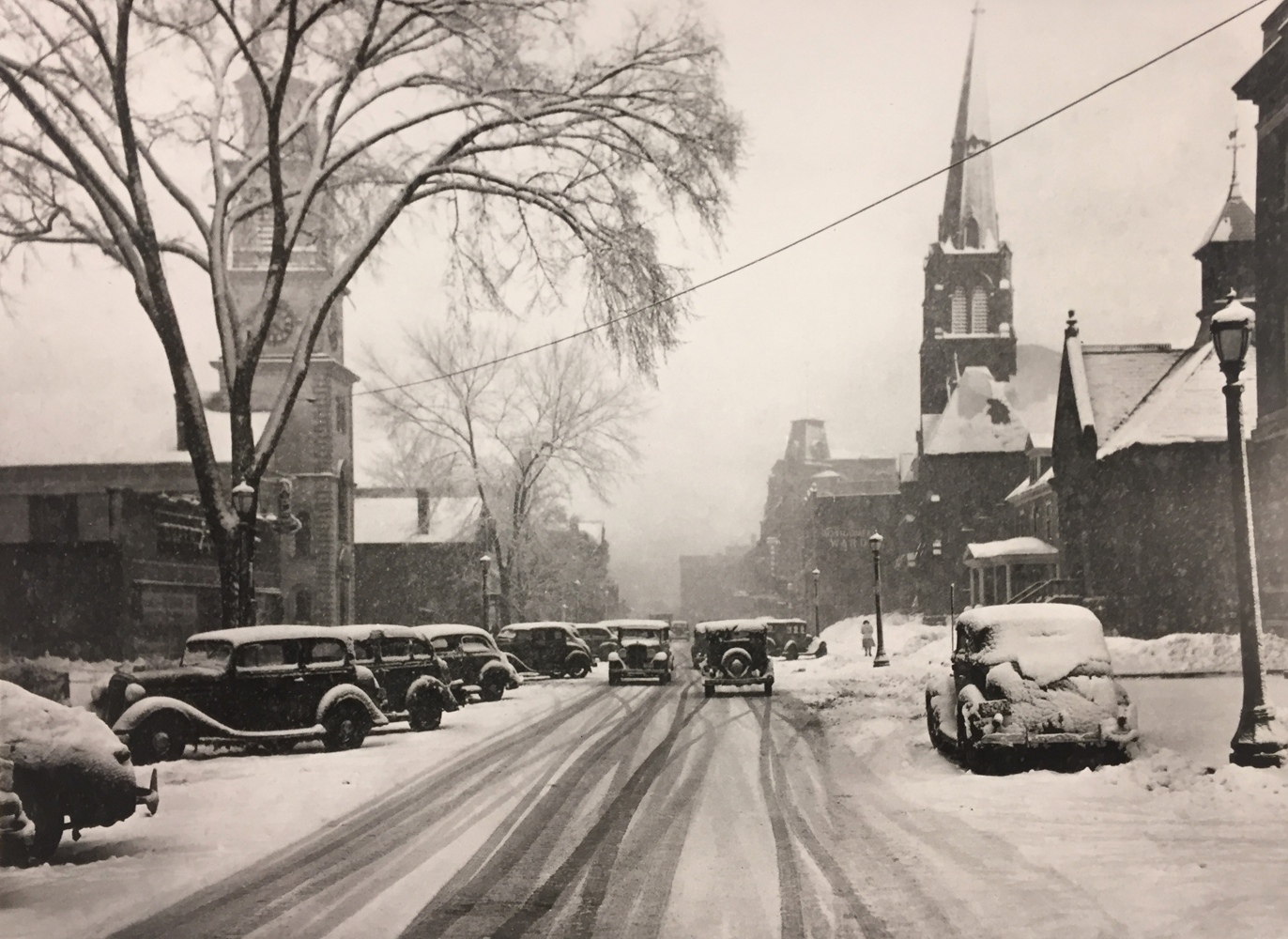 Marion Post Wolcott, Main street during blizzard, Brattleboro, Vermont, 1938, gelatin silver print, 11 x 14 inches, price on request