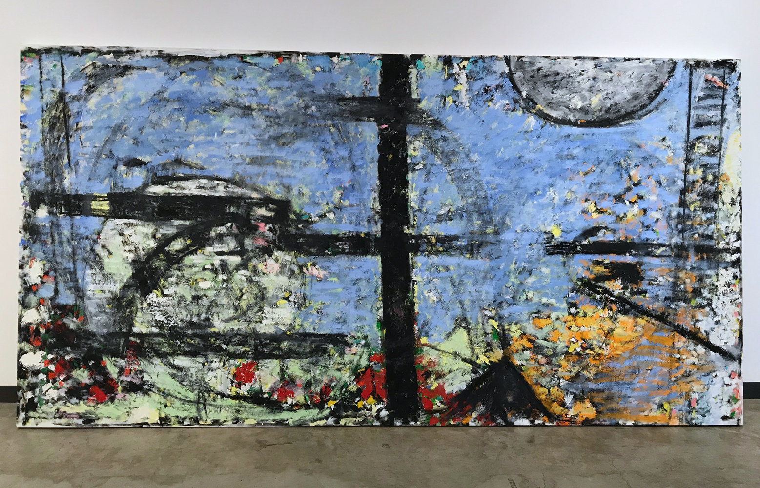 Robert C. Jones, Craig's Mill, 2003, oil on canvas, 77.75 x 150.5 inches, $35,000.