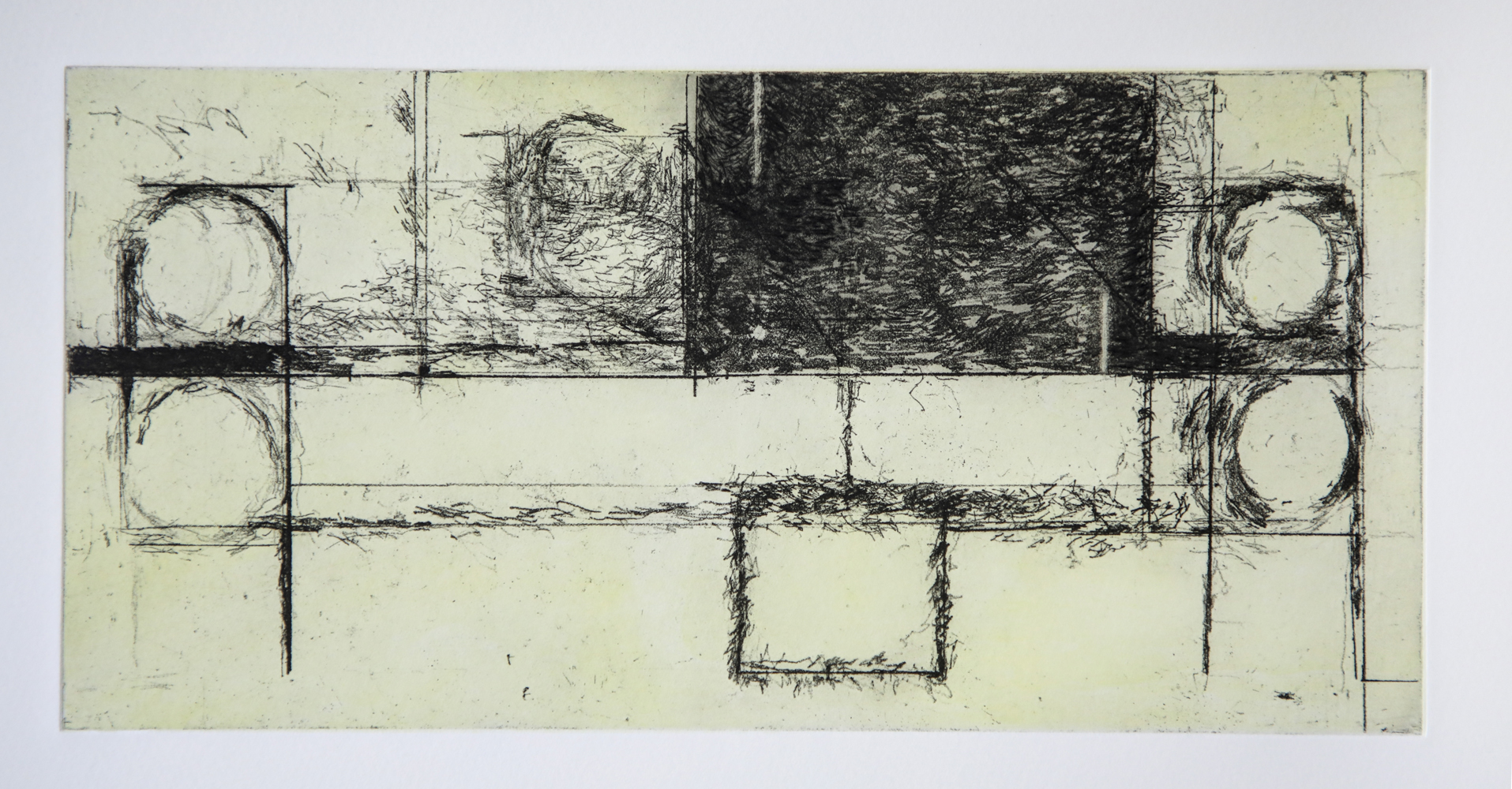 Robert C. Jones, Untitled (yellow), 2018, soft ground and aquatint etching with drypoint, edition of 15, paper size: 19.5 x 23 inches, image size: 5.875 x 11.875 inches, printed by Beta Press, $1000.