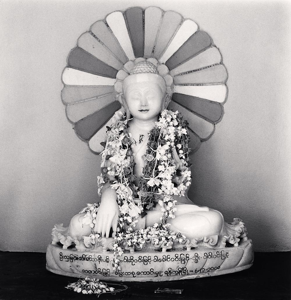 Michael Kenna, Garlanded Buddha, Sagaing, Myanmar, 2019