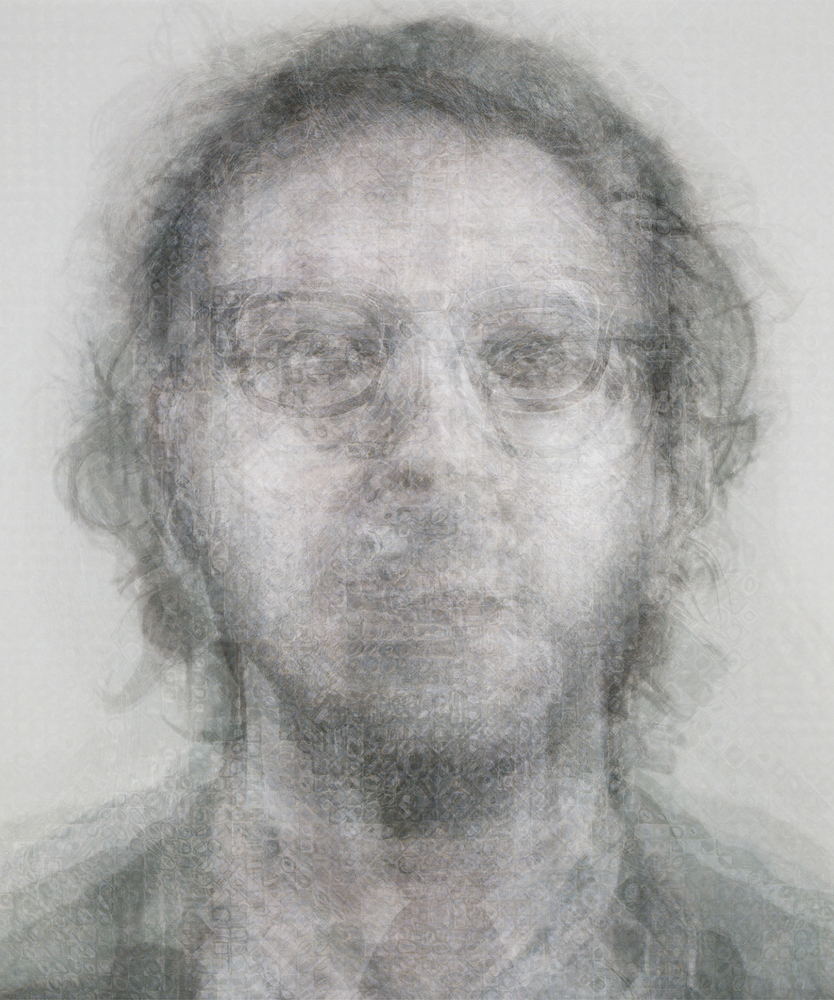 Doug Keyes, Chuck Close B&W, 2014, archival pigment print, edition of 7, 30 x 25 inches, face mounted to plex, price on request