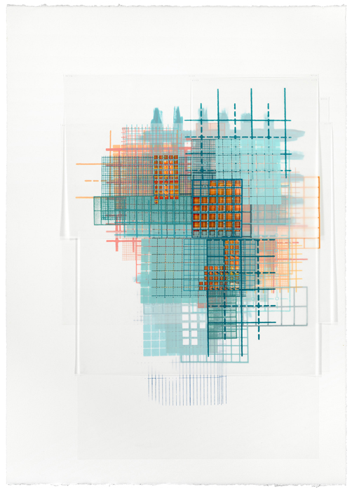 Amanda Knowles, Basis IV, 2014, screenprint and acrylic on paper and duralar with handcutting, 44 x 32 inches, framed, $3400.
