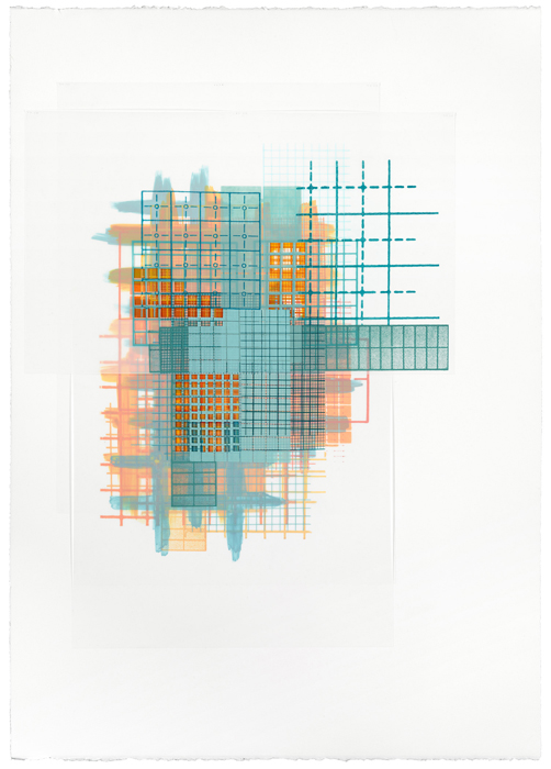 Amanda Knowles, Basis I, 2014, screenprint and acrylic on paper and duralar with handcutting, 44 x 32 inches, framed, $3400.
