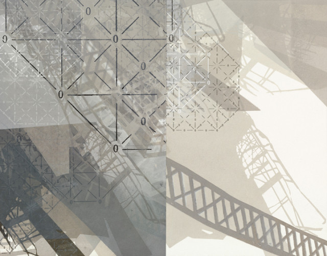 Amanda Knowles, Descent I, 2013, screenprint and acrylic on paper, 10.75 x 13.75 inches, framed, $750.