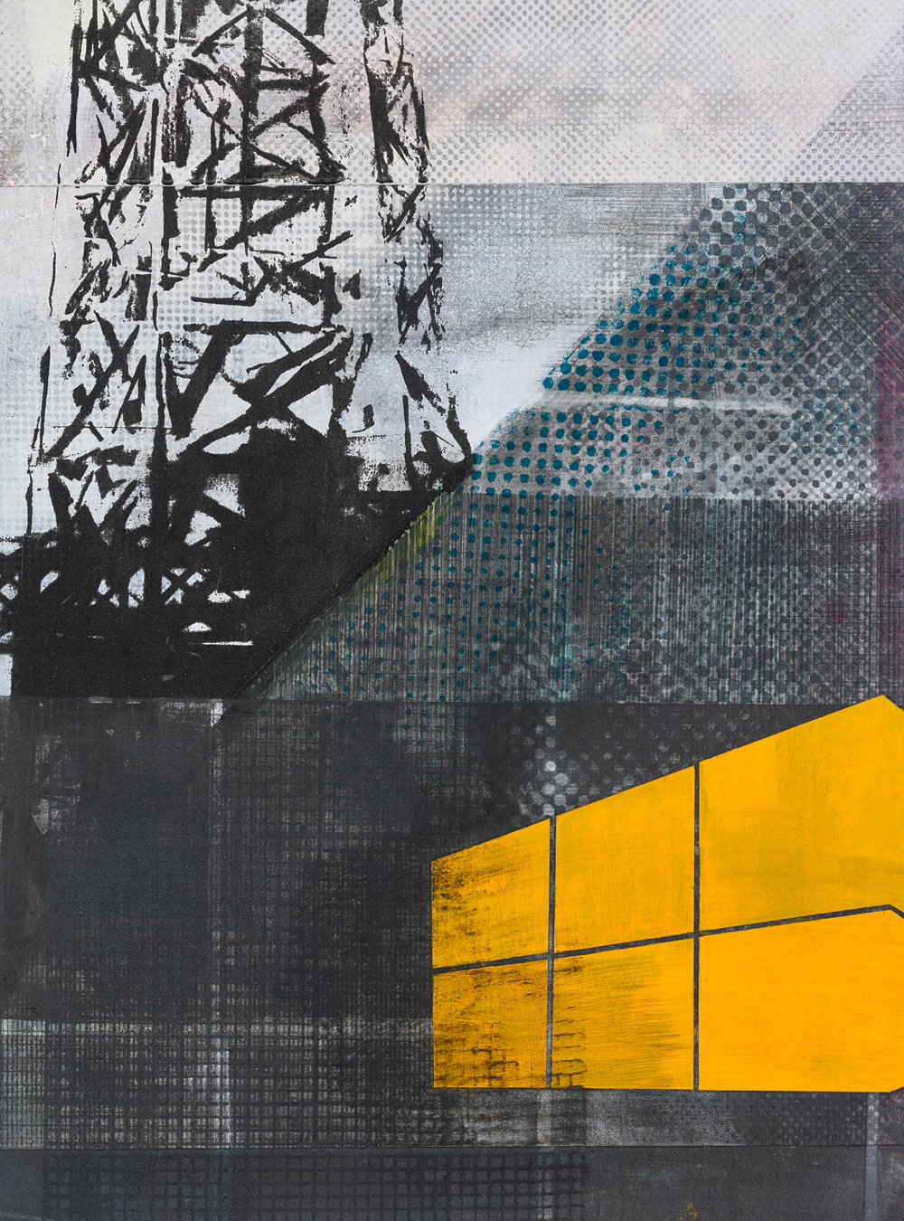 Amanda Knowles, Duwamish Study VII, 2018, screen print, graphite, acrylic on paper, 14.75 x 10.75 inches, $650.