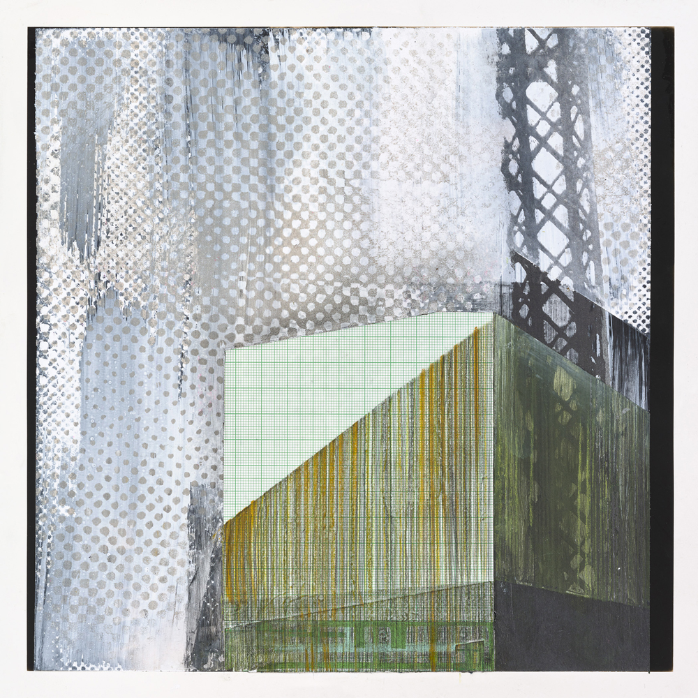 Amanda Knowles, Industry Study III, 2018, screen print, graphite, acrylic on photo paper, 10.75 x 10.75 inches, framed, $650.