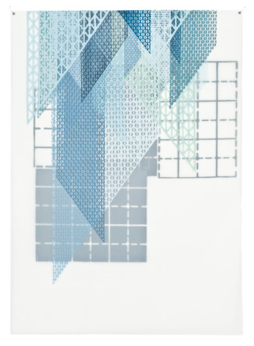 Amanda Knowles, Pinned V, 2011, screenprint on frosted mylar, 28 x 20 inches, framed, $1400.
