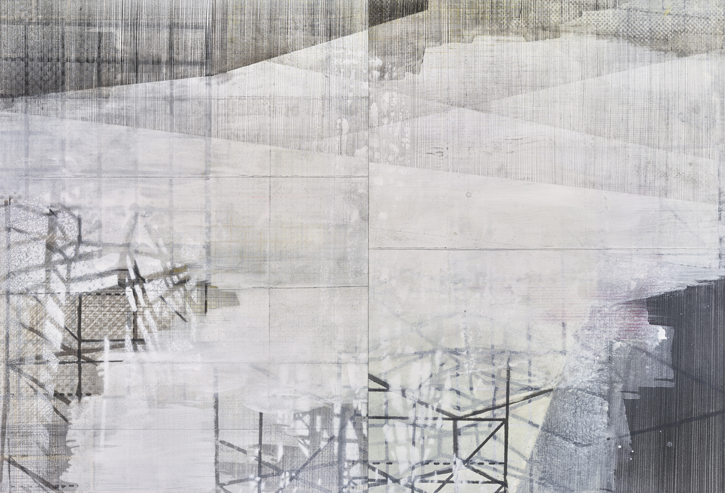 Amanda Knowles, Structure to hold up the sky I, 2017, screen print, graphite + acrylic on paper, 14.75 x 21.75 inches, framed, $1200.
