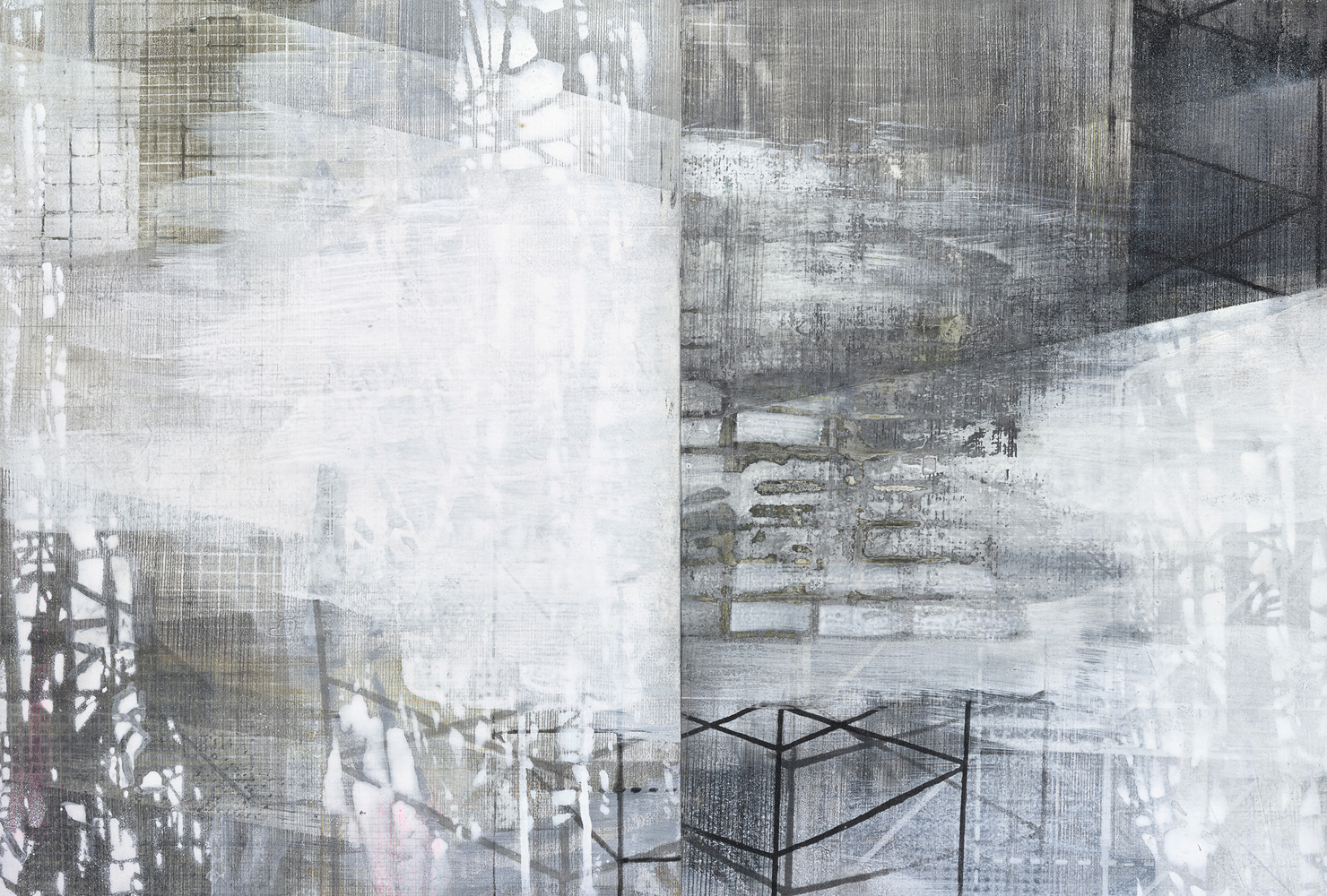 Amanda Knowles, Structure to hold up the sky IV, 2017, screen print, graphite + acrylic on paper, 14.75 x 21.5, framed, $1200.