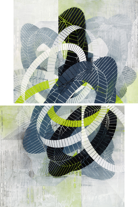 Amanda Knowles, Traced (Tangle), 2014, screenprint and acrylic on paper, 35.25 x 23.25 inches / framed 39 x 27 inches, SOLD