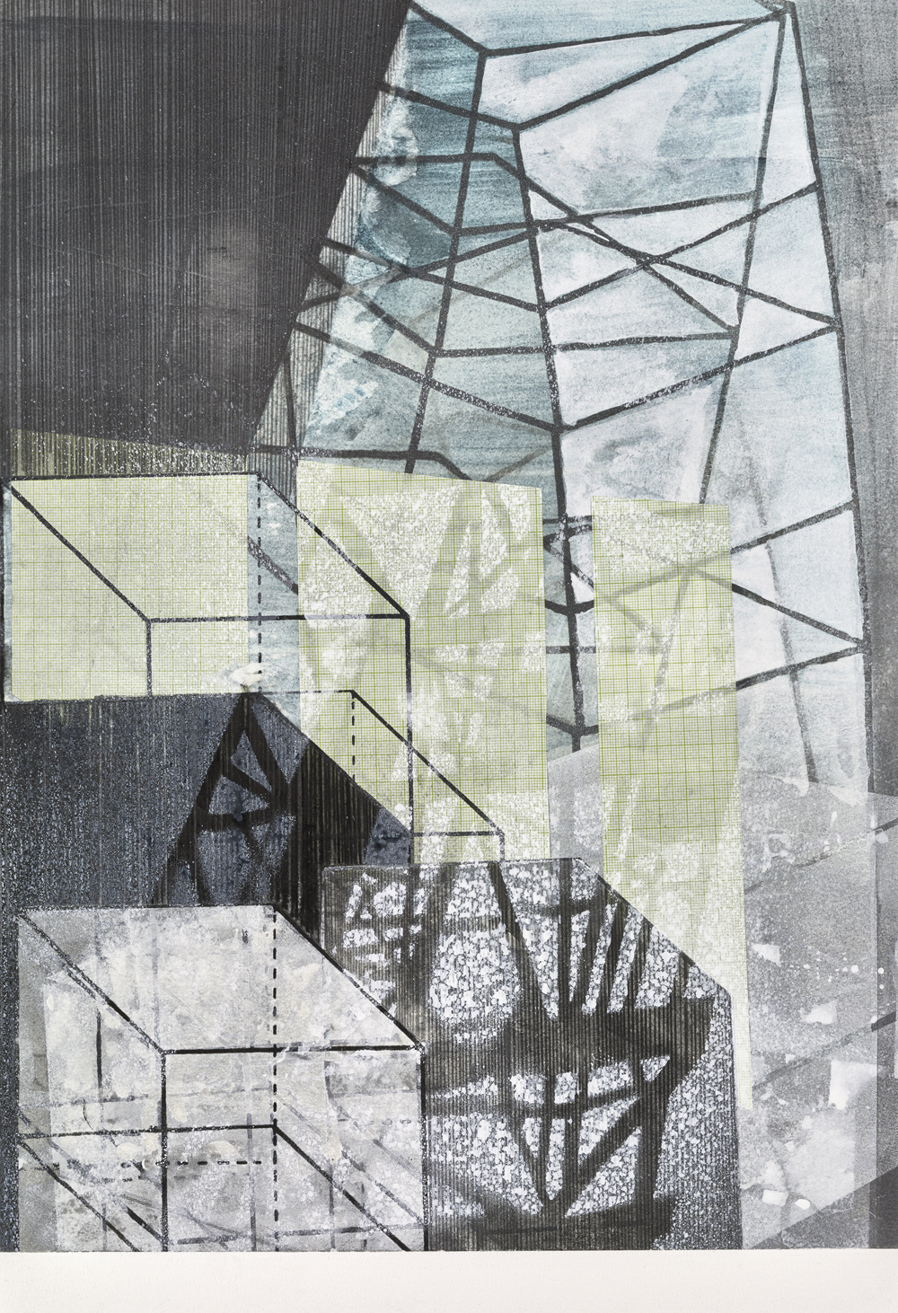 Amanda Knowles, Untitled (Built Environment) I, 2017, screen print, graphite + acrylic on paper, 19 x 13 inches, $800.