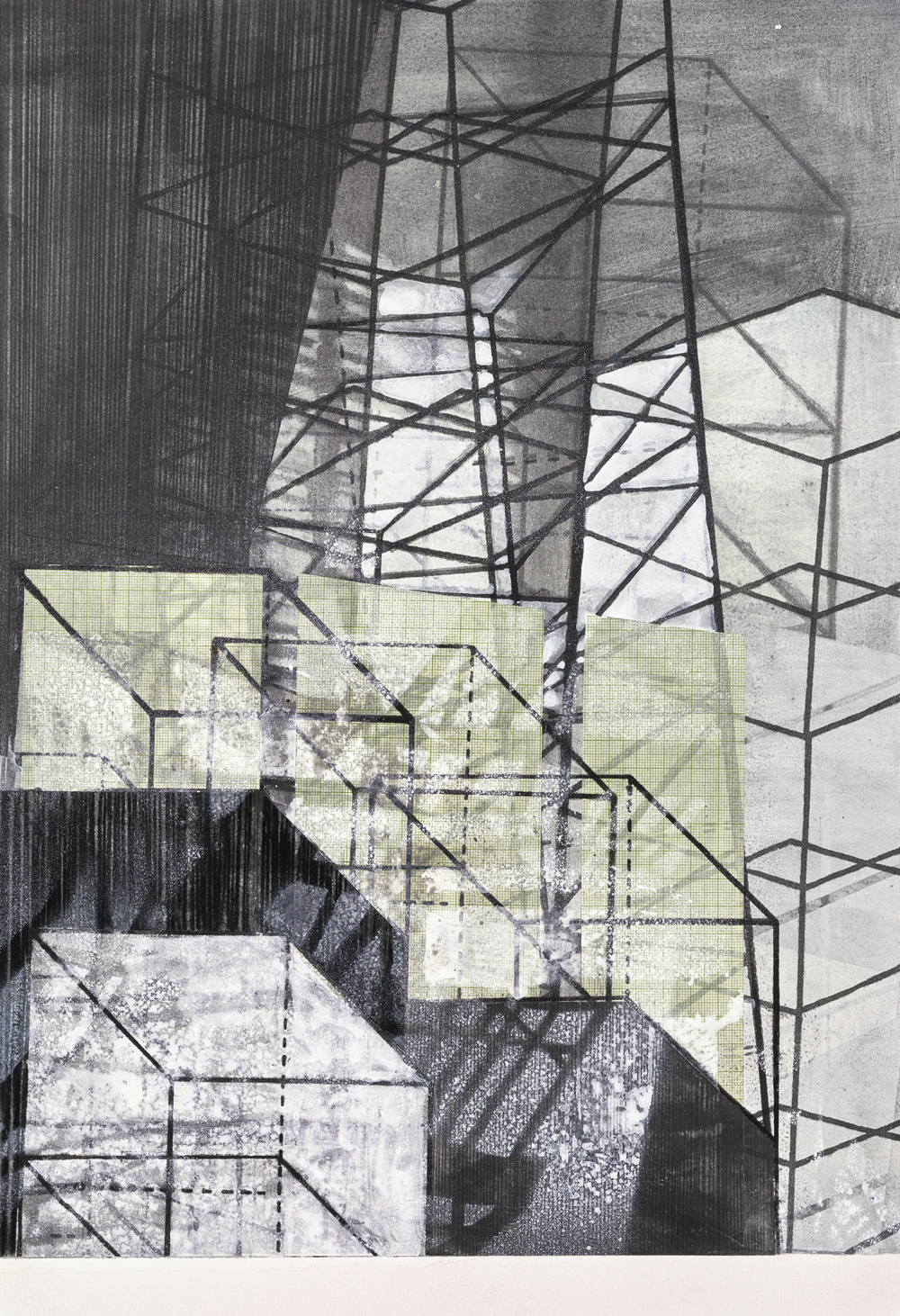 Amanda Knowles, Untitled (Built Environment) II, 2017, screen print, graphite + acrylic on paper, 19 x 13 inches, $800.
