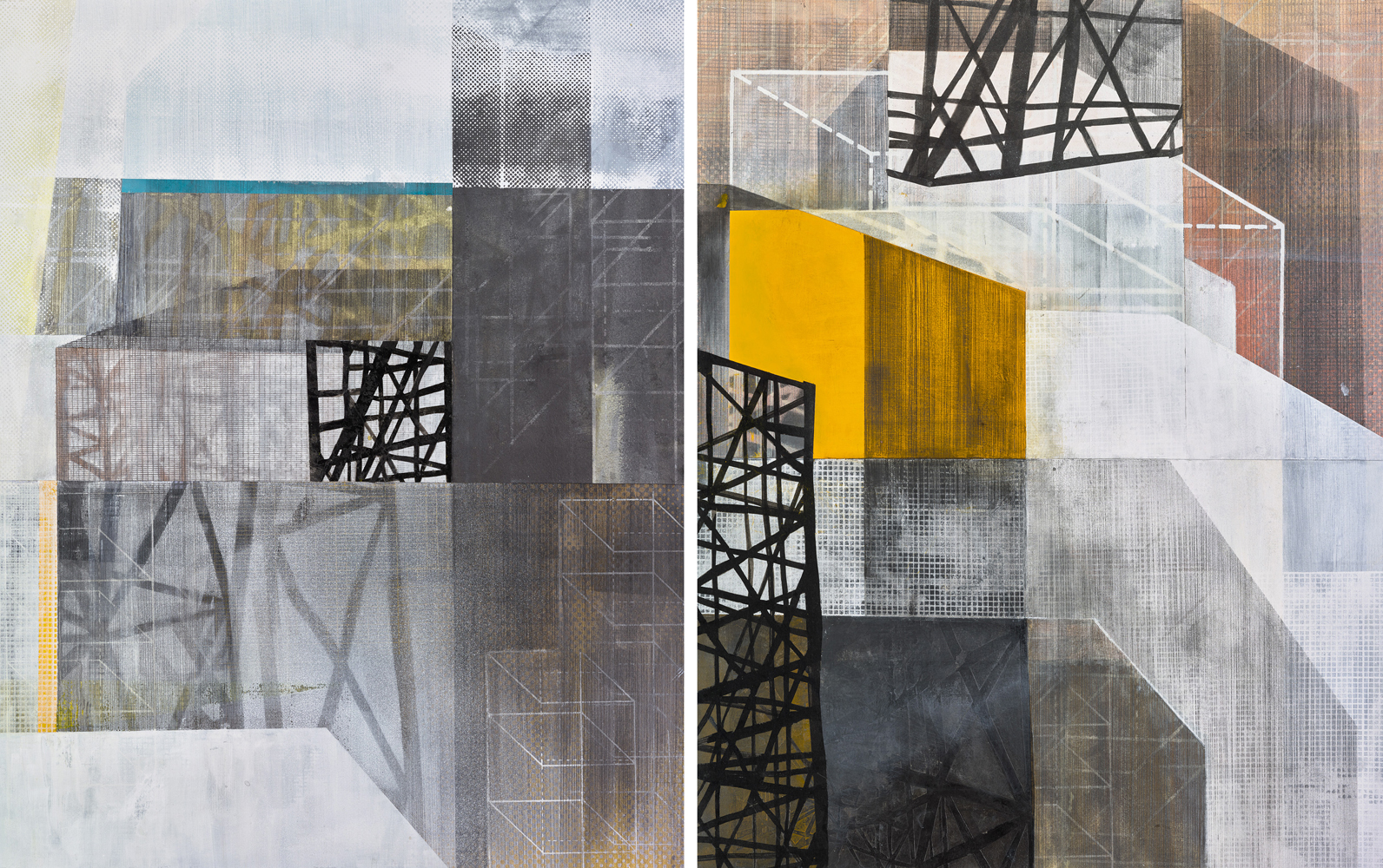 Amanda Knowles, Untitled (construct) III-IV, 2018, mixed media on paper, 26 x 41 inches, $2900.
