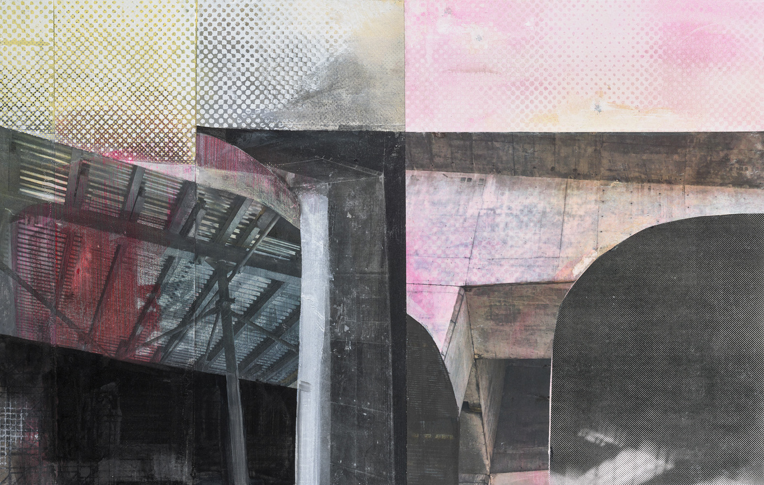 Amanda Knowles, Untitled (Overhead), 2021, screenprint, acrylic, and graphite on paper, 14.5 x 22.5 inches, $1200.