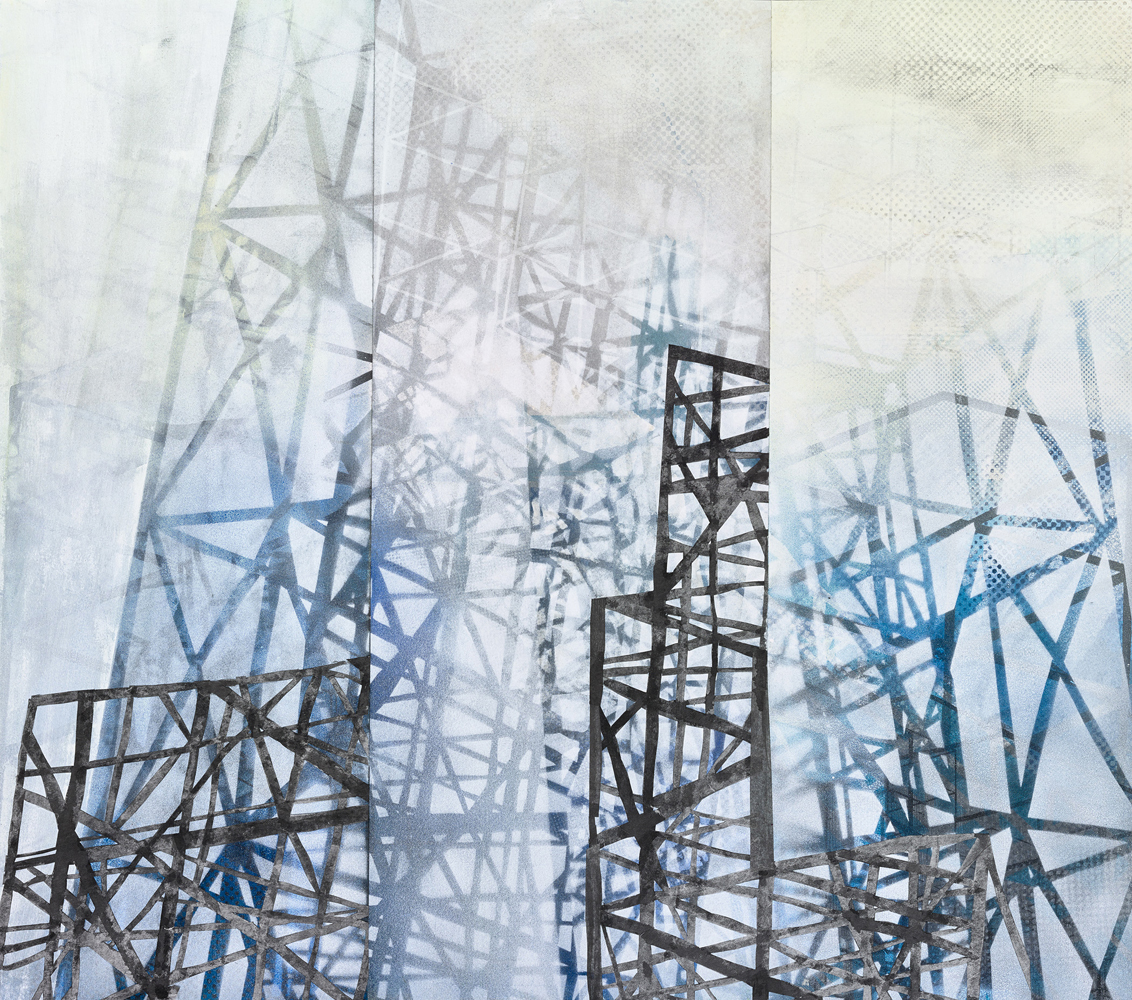 Amanda Knowles, Land & Sky II, 2018, screen print, graphite, acrylic on paper, 27.75 x 31.5 inches, $2200.